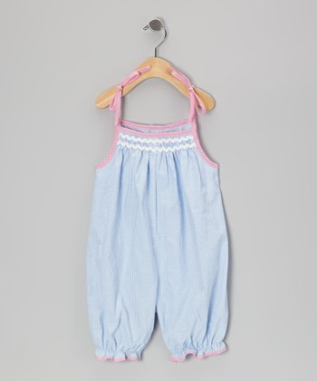 Blue & Pink Gingham French Bubble Romper - Infant