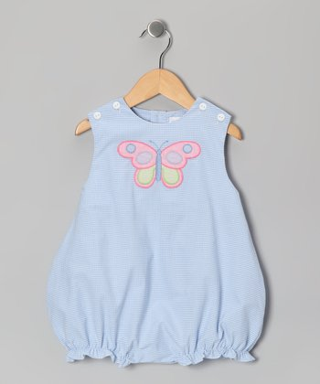 Blue Butterfly Gingham Bubble Bodysuit - Infant