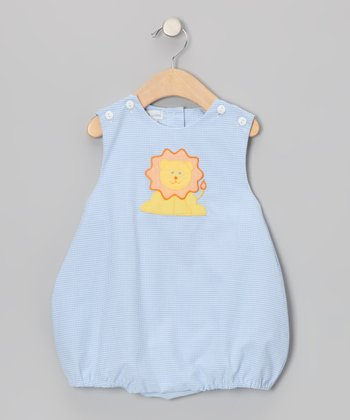 Blue Gingham Lion Bubble Bodysuit - Infant