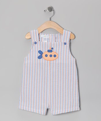 Blue Stripe Submarine Seersucker Shortalls - Infant