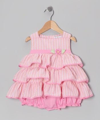 Pink Stripe Seersucker Tiered Bubble Bodysuit - Infant