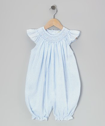 Blue Floral French Bubble Romper - Infant