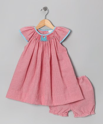 Red Crab Gingham Angel-Sleeve Dress & Bloomers - Infant