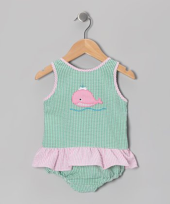 Green Whale Seersucker Skirted One-Piece - Infant & Toddler