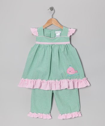 Green Whale Seersucker Tunic & Capri Pants - Infant & Toddler