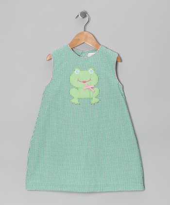 Green Frog Gingham Seersucker Dress - Infant