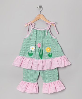 Green Flower Seersucker Tunic & Capri Pants - Infant & Toddler