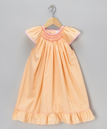 Orange Smocked Gingham Angel-Sleeve Dress - Infant & Toddler