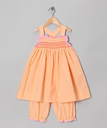 Orange Smocked Cross-Back Dress & Bloomers - Infant & Toddler
