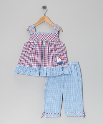 Blue & Red Gingham Sailboat Top & Capri Pants - Infant