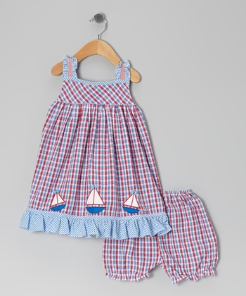 Blue & Red Gingham Sailboat Dress & Bloomers - Infant & Toddler