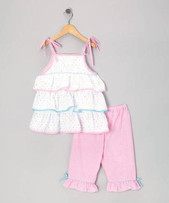 White Polka Dot Tier Tunic & Pink Capri Pants - Infant & Toddler
