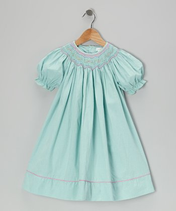 Turquoise Gingham Flower Bishop Dress - Infant