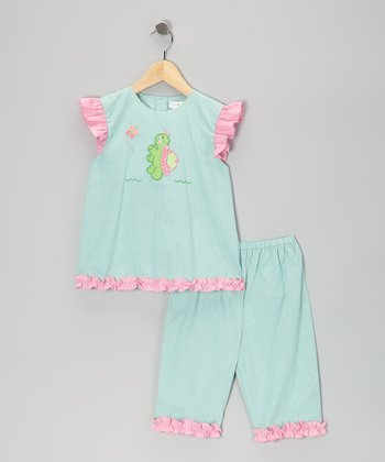 Turquoise Gingham Turtle Top & Capri Pants - Infant & Toddler