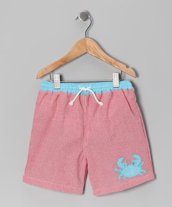 Red Crab Gingham Swim Trunks - Infant & Toddler