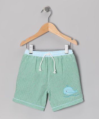 Green Whale Gingham Seersucker Swim Trunks - Infant & Toddler