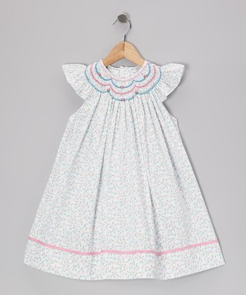 Blue & Pink Floral Smocked Angel-Sleeve Dress - Infant & Toddler