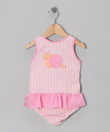 Pink Stripe Snail Seersucker Skirted One-Piece - Infant