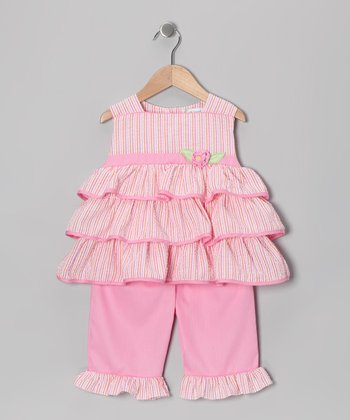 Pink Seersucker Tiered Tunic & Capri Pants - Infant & Toddler