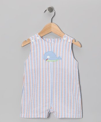 Blue Stripe Whale Seersucker Shortalls - Infant & Toddler