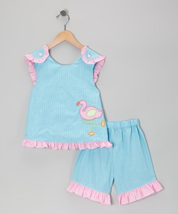 Turquoise Gingham Flamingo Ruffle Top & Shorts - Toddler