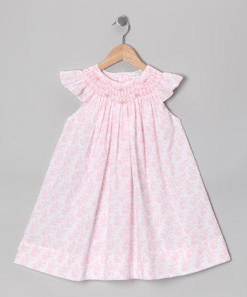 Pink Floral Angel-Sleeve Dress - Infant & Toddler