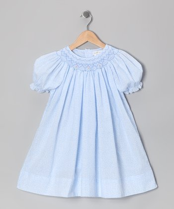 Blue Floral Bishop Dress - Infant
