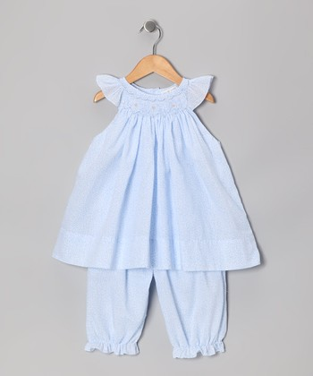Blue Floral Angel-Sleeve Dress & Bloomers - Infant