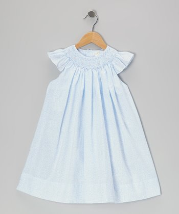 Blue Floral Smocked Angel-Sleeve Dress - Infant