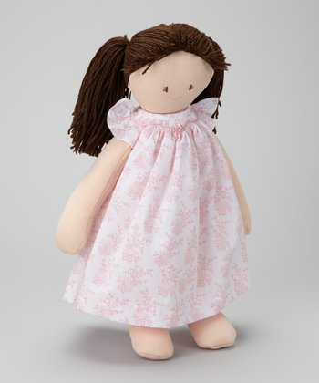 Brown-Haired Pink Floral Doll