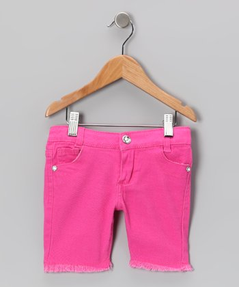 Fuchsia Frayed Bermuda Shorts - Toddler & Girls