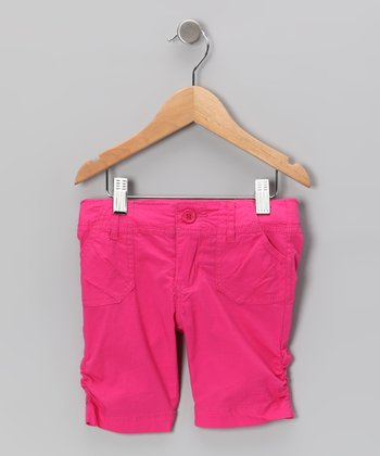 Fuchsia Poplin Bermuda Shorts - Toddler & Girls