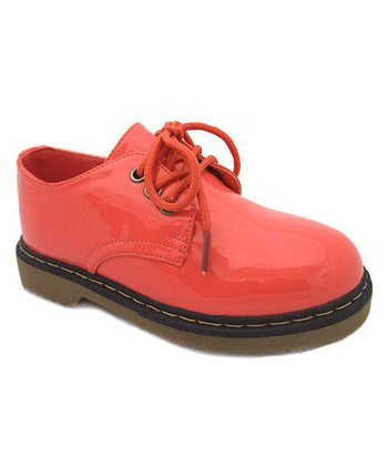 Coral Patent Three-Hole Lace-Up Shoe