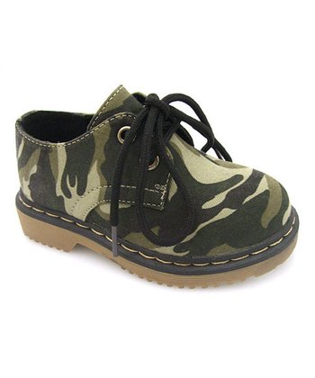 Green Camo Two-Hole Lace-Up Shoe