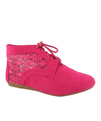 Fuchsia Lace Naomi Ankle Boot