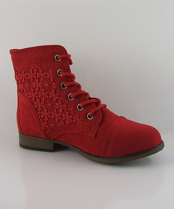 Red Suede Chapter Boot