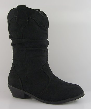 Black Suede Western Scrunch Boot