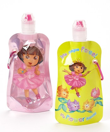 Dora & Flower Friends 12-Oz. Foldable Bottle - Set of Two