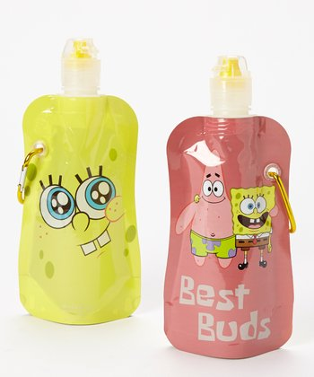 SpongeBob 'Best Buds' 12-Oz. Foldable Bottle - Set of Two