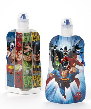 Justice League 12-Oz. Foldable Bottle - Set of Two