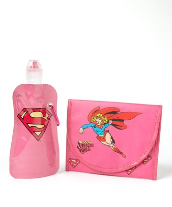 Supergirl 12-Oz. Foldable Bottle & Sandwich Bag