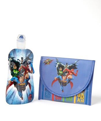 Justice League 12-Oz. Foldable Bottle & Sandwich Bag