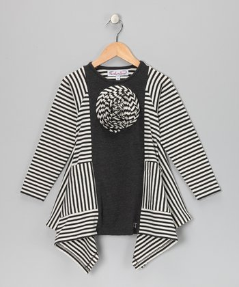 Charcoal & Milk Sabrina Sidetail Tunic - Toddler & Girls