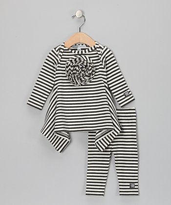 Charcoal & Milk Stripe Tunic & Leggings - Infant