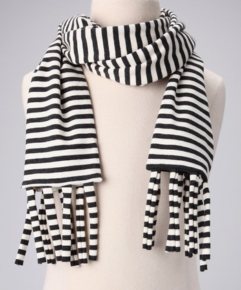 Charcoal & White Stripe Fringe Scarf
