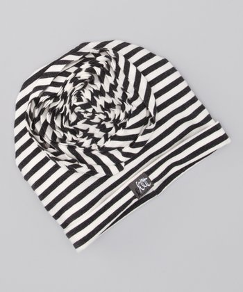 Charcoal & Milk Stripe Rosette Beanie
