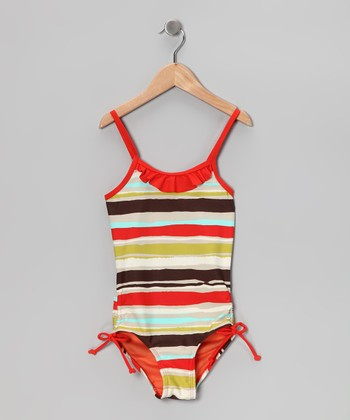Brown & Orange Stripe One-Piece - Toddler & Girls