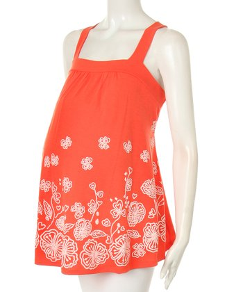 Orange Floral Maternity Swing Top
