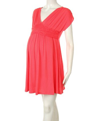 Coral Lace Maternity Babydoll Dress