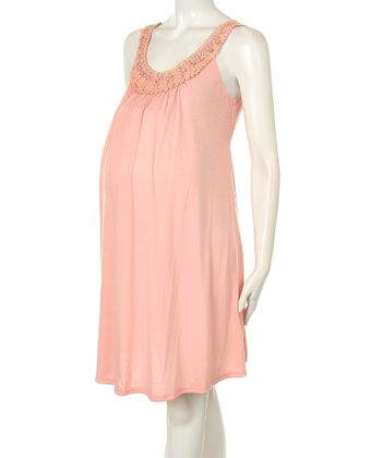 Pink Smocked Maternity Dress